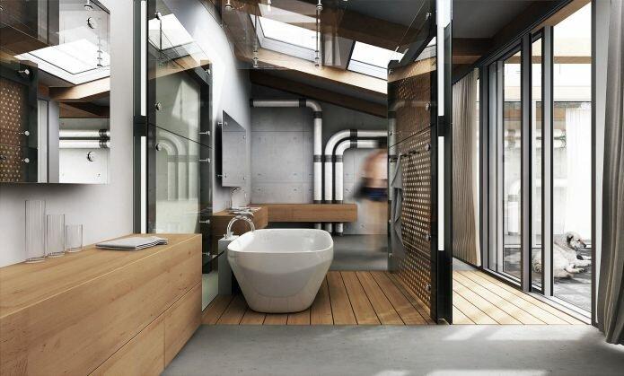 Лофт в ванной предусматривает использование индустриальных мотивов: грубые материалы, не штукатуренные, без финишной отделки, стены, возможно даже голые бетонные поверхности.