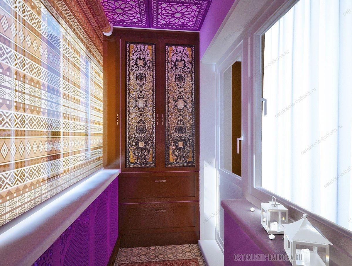 """Интерьер балкона в восточном стиле с фиолетовыми стенами"""" - ."""