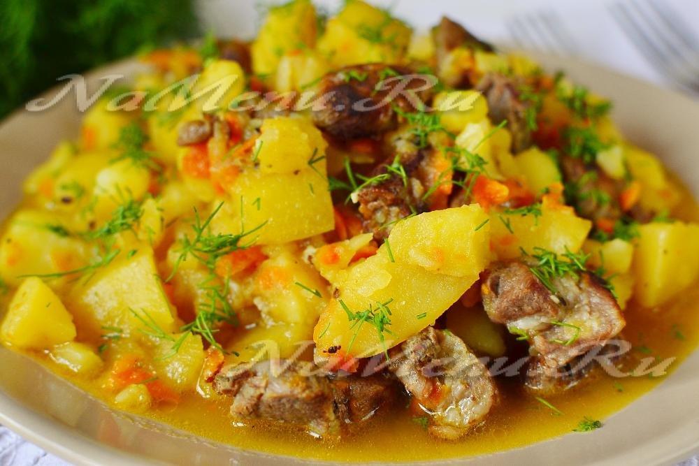 Тушеная картошка с мясом курицы