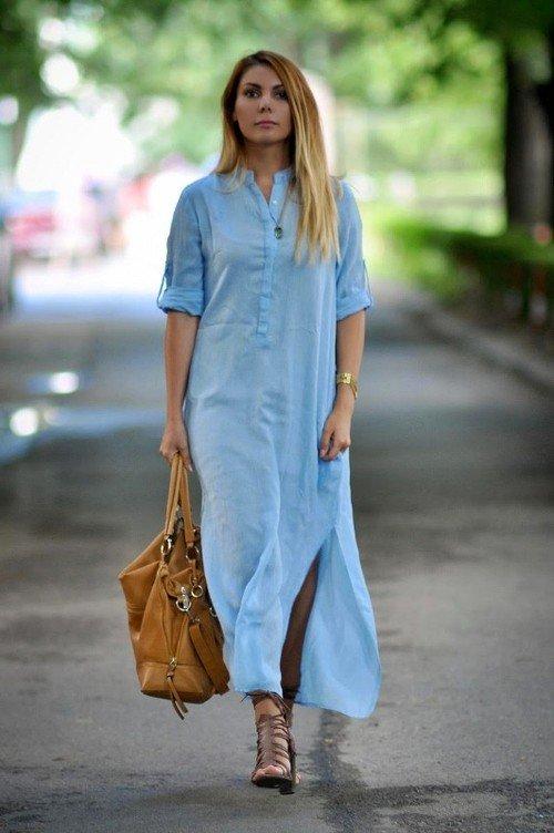 Платье из легкой ткани длинное