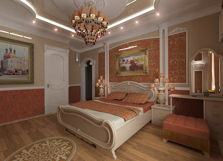 Лепнина на стенах, светильники, люстра и ламбрекены золотого цвета гармонично смотрятся в общей картине интерьера.