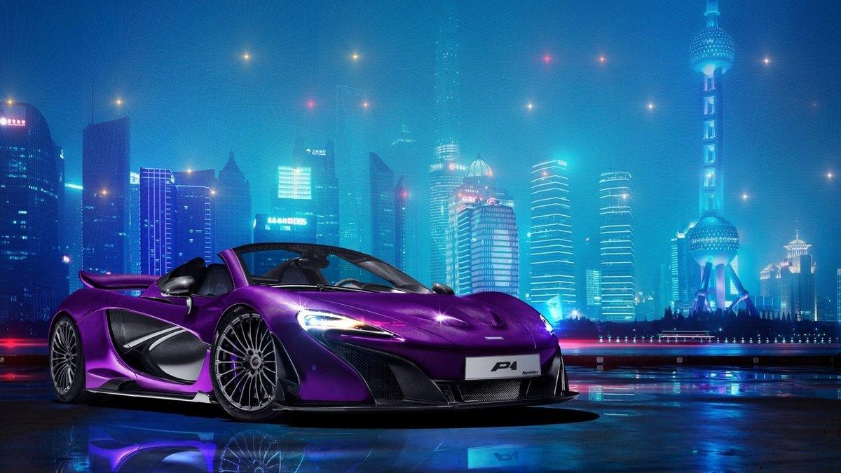 Фиолетовая открытка с машиной, спокойной ночи люблю