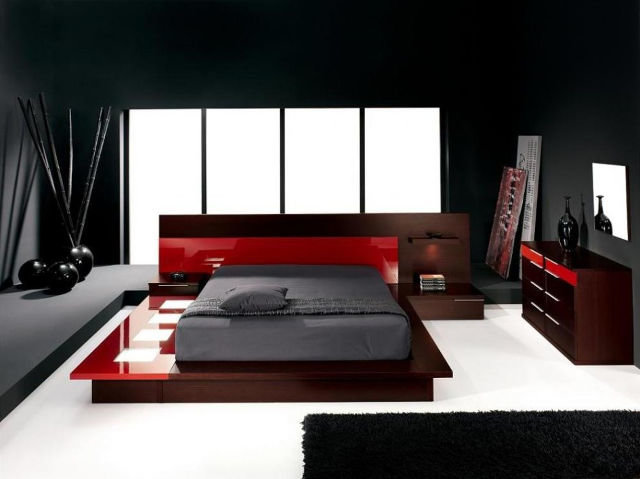 Пример сочетания черного, белого и красного цветов в интерьере