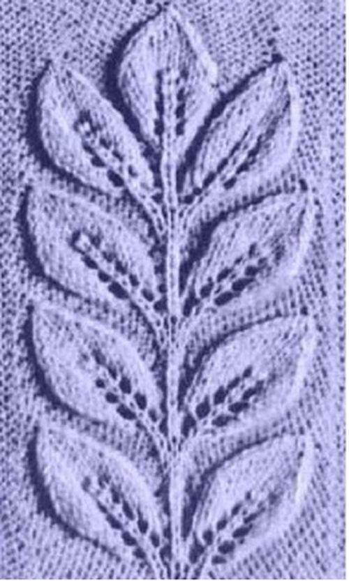Узоры с листьями спицами 12