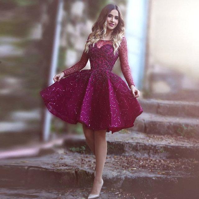 ebda16760d0 ... Купить товар Халат де вечер пышными рукавами линия фиолетовый короткое  платье выпускного вечера с Beadings Vestido