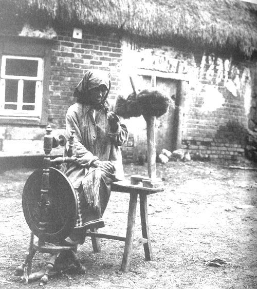 Крестьянка за самопрялкой. Тульская губерния, Богородицкий уезд, село Ивлево. 1902