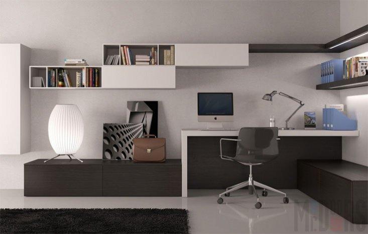 Домашний кабинет в современном стиле - Интерьер и дизайн в чёрно белом цвете