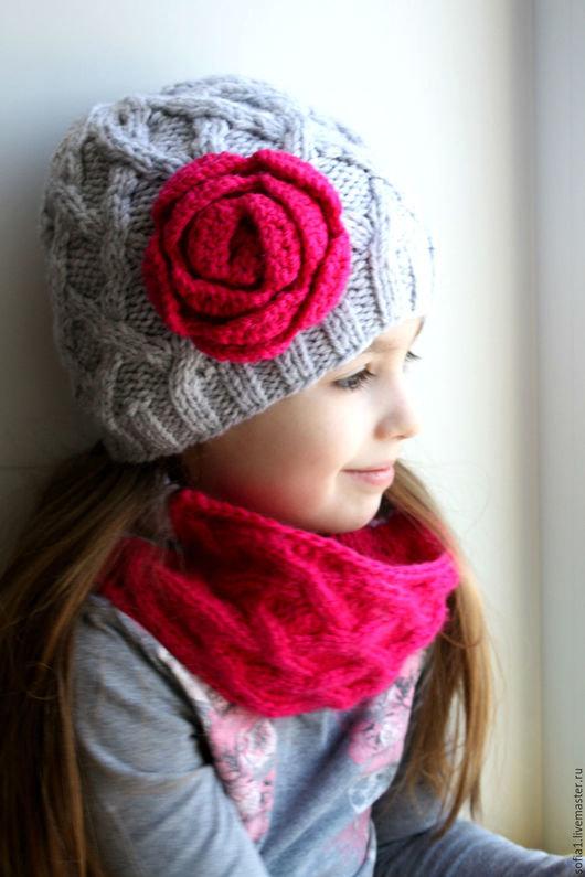 шапка и снуд спицами для девочки добавлен корзину Оформить