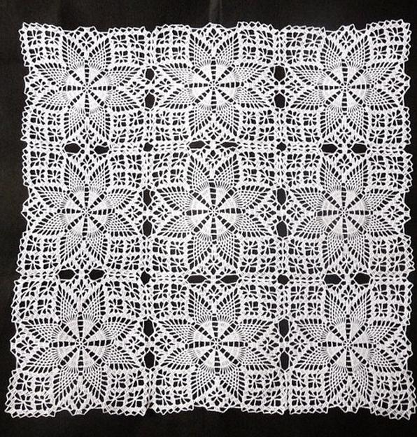 прямоугольные ажурные салфетки крючком схемы