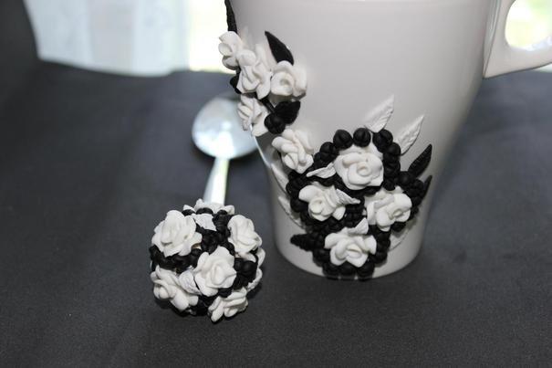Ручная работа Кружка и ложка с декором из полимерной глины