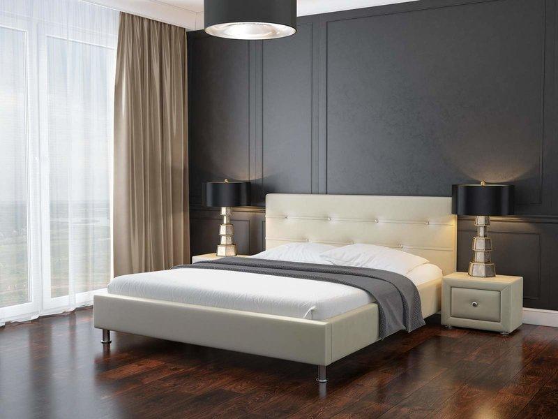 Кровать Виктория Лаура (пуговицы) с основанием. Обивка:  эко-кожа 2-й категории.