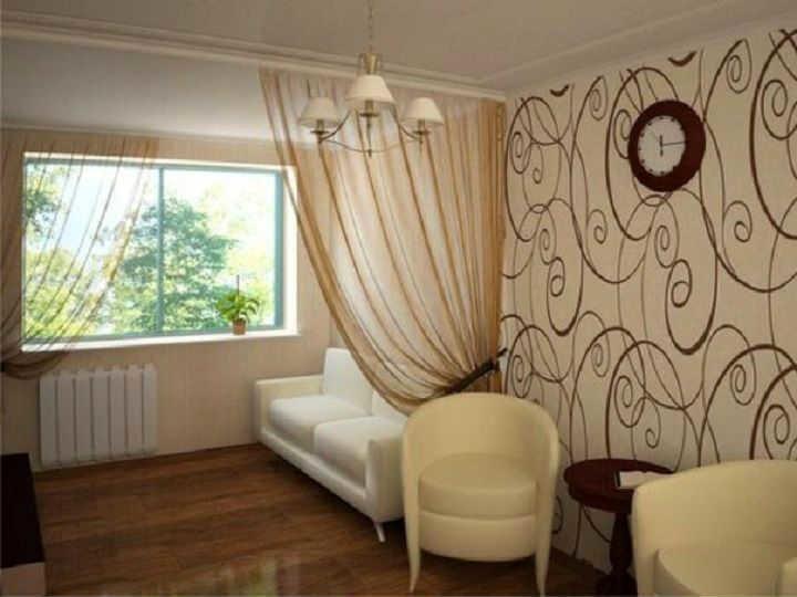 Зонирование комнаты при помощи штор является самым удобным и.