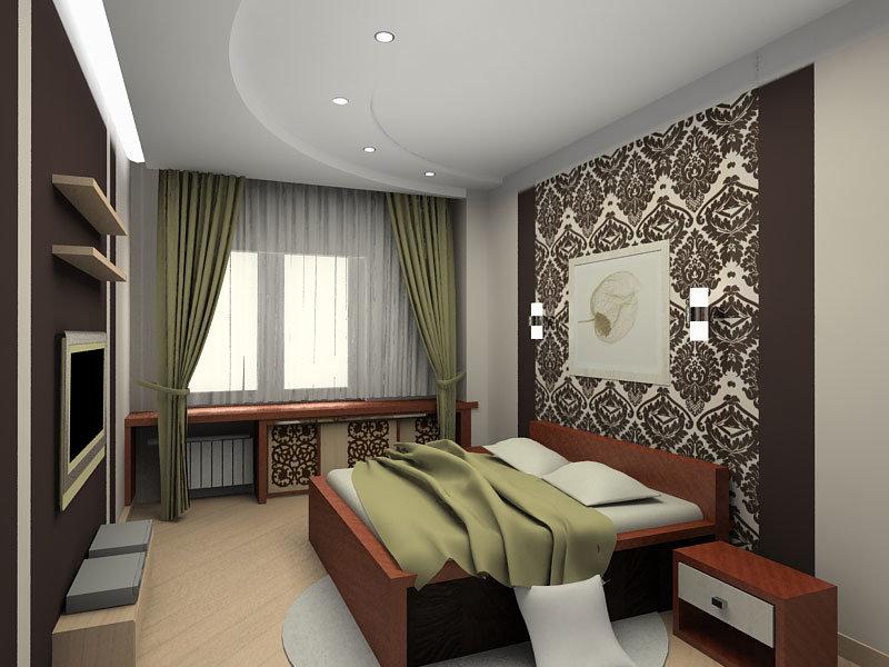 Контрастный дизайн интерьера спальни