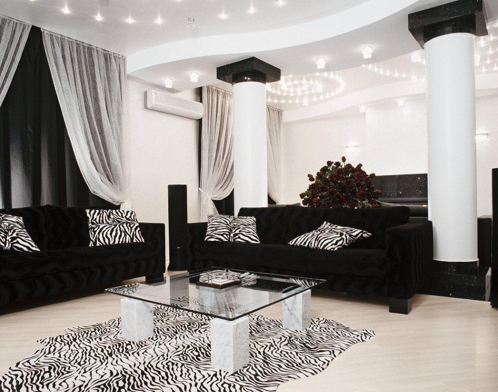 дизайн гостиной в черно белых тонах фото видела