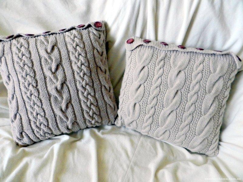 Вязанные подушки на спицах схемы