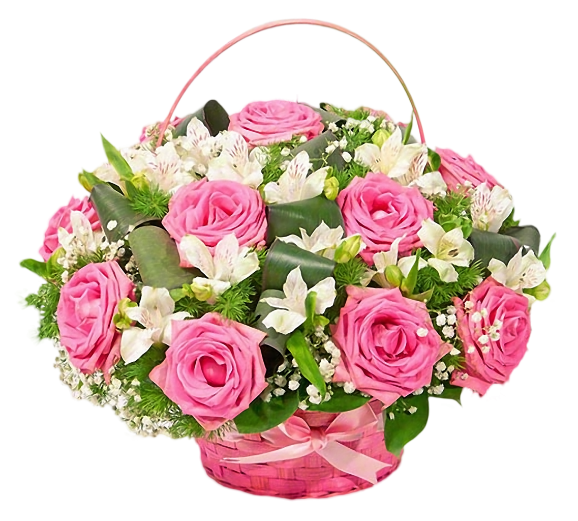 Оптом, букеты цветов к юбилею в корзинах