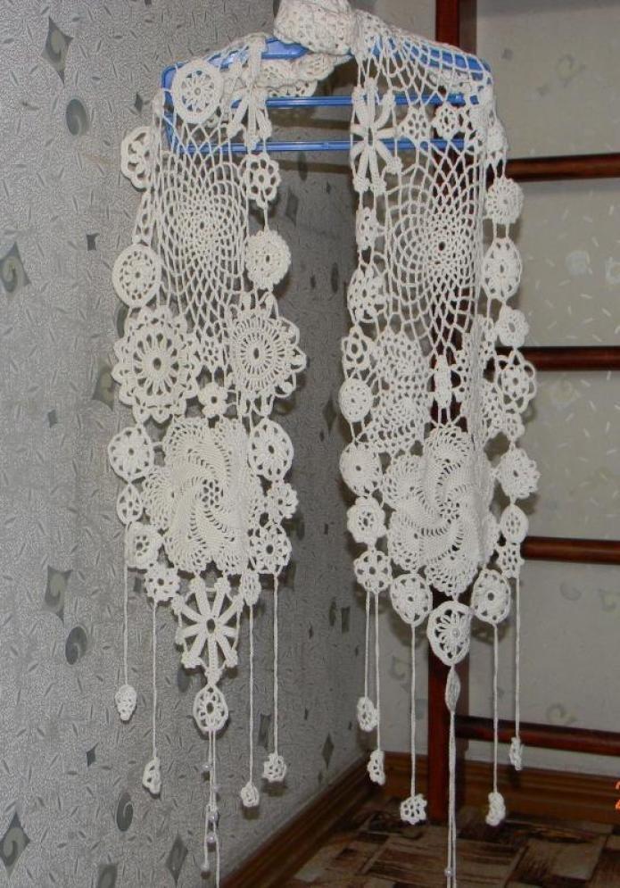 ажурные шарфы крючком фото