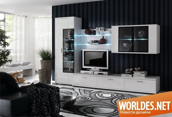 Дизайн гостиной с мебелью белой