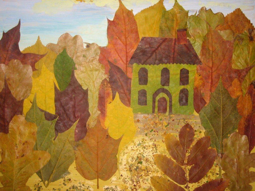 Картинки из осенних листьев своими руками для детского сада, открытка