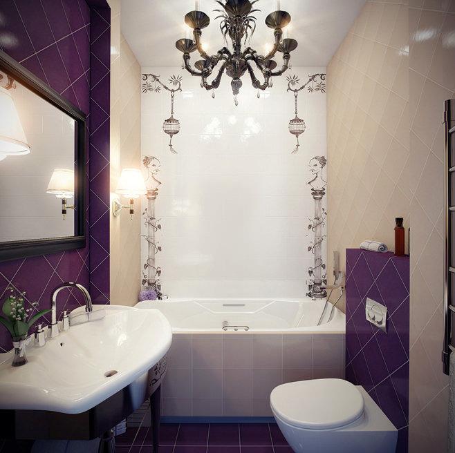фото дизайн кафель маленькая ванная комната #10