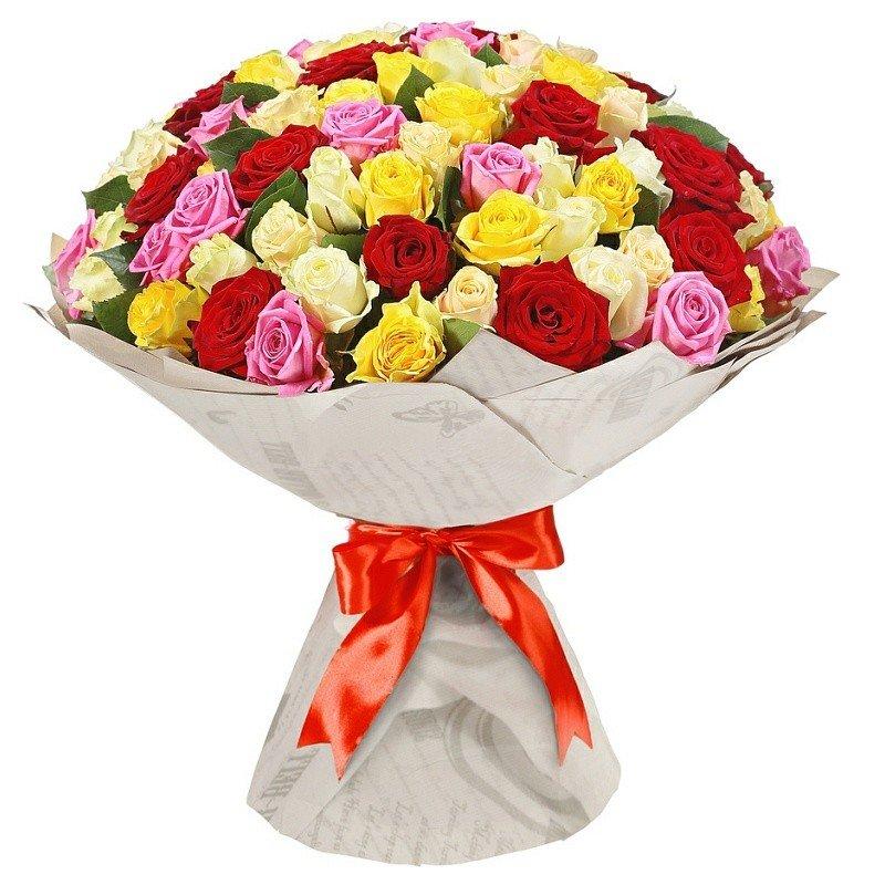 Букеты разноцветных роз