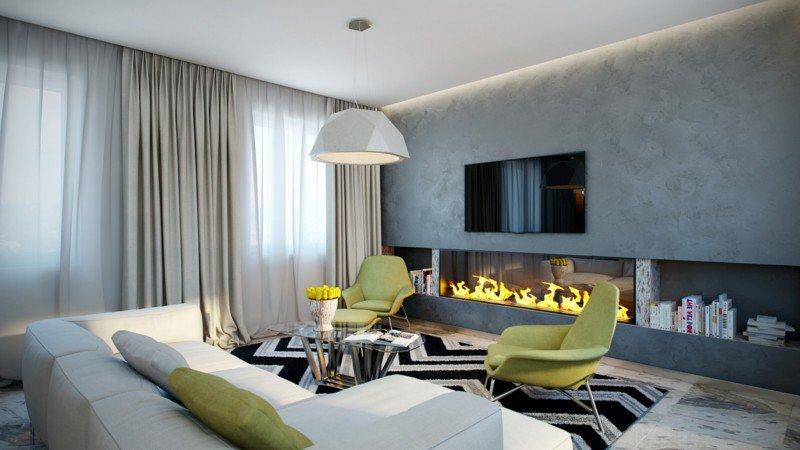 гостиная с современным камином в серых тонах