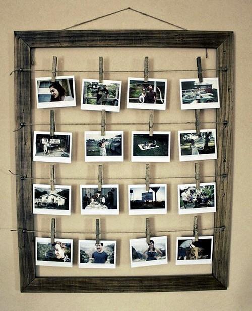 как оформить стену фотографиями