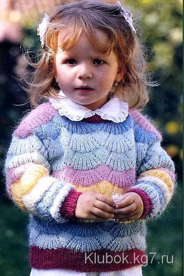 Полосатый пуловер для мальчика размеры: 74 (80) 92 вам потребуется: () г красной и по 50 г темно-синей и синей пряжи linie (% мериносовой шерсти, м/50 г), прямые спицы ns 3.