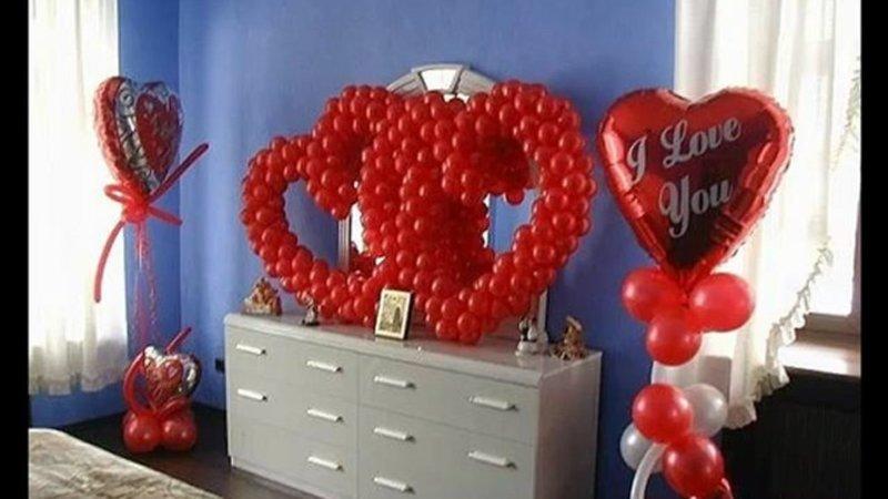 как украсить комнату к 14 февраля для парня