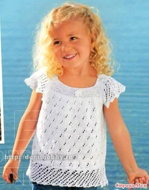 Вязанье летней кофточки для девочки 747