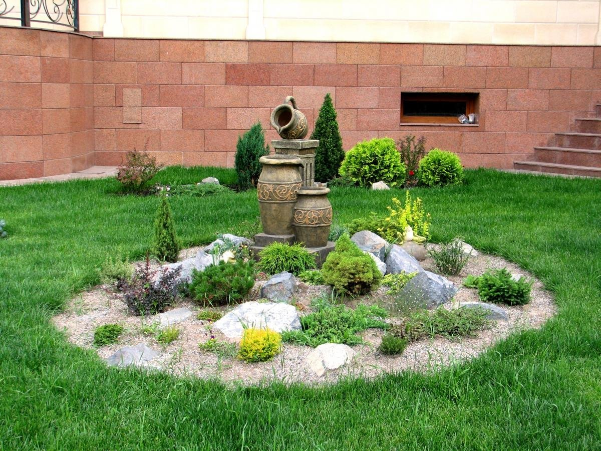 оформление сада камнями фото