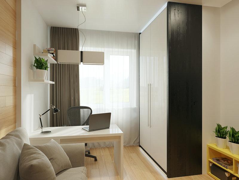 Домашний кабинет в современном стиле - Чёрный, белый и бежевый цвет