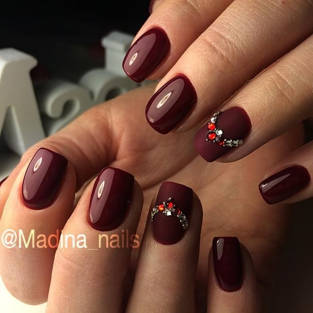 Фото дизайн ногтей цвет марсала