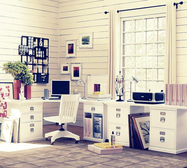 Светлый домашний кабинет - Белая мебель (простота и уют)