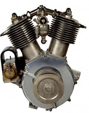 First V-Twin  (Atmospheric Twin, 1909-1911)   Производился с 1909 по 1911 год (в основе конструкции -V-образный двигатель De Dion), объём  составлял 850 кубических сантиметров.