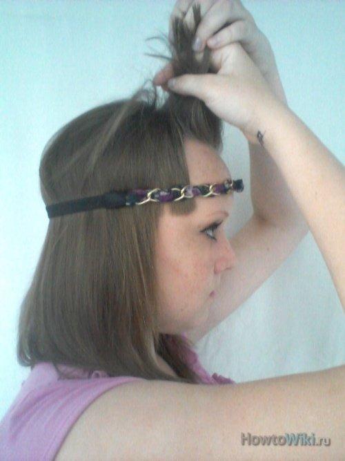 Прическа с резинкой вокруг головы фото