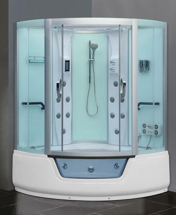 Гидромассажные ванны с душевой кабиной – довольно приемлемое решение, как для просторных помещений, так и для небольших ванных комнат.