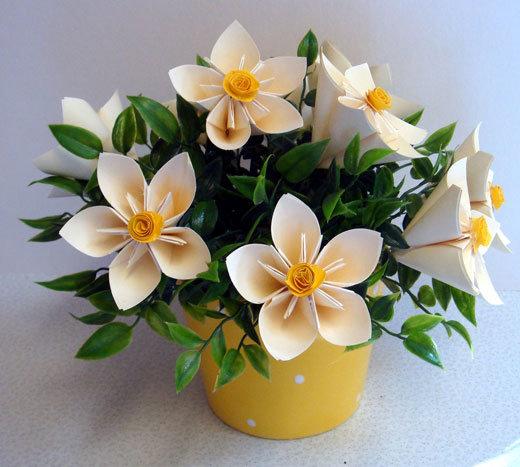 Букет цветов из бумаги своими руками как сделать корзинку из бумаги 3