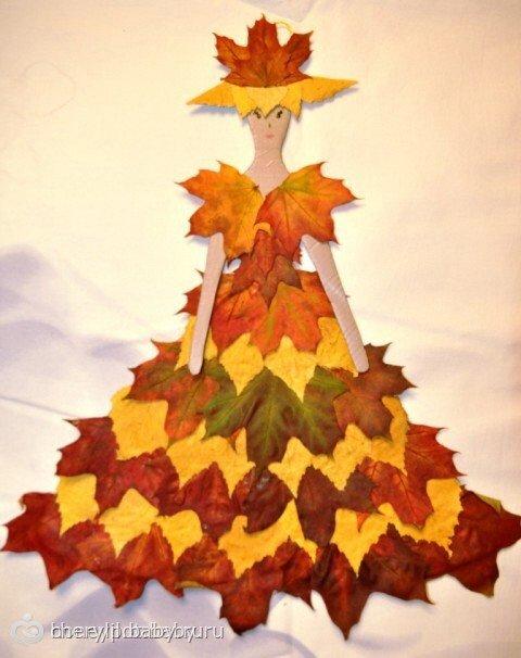 Аппликации платья из листьев