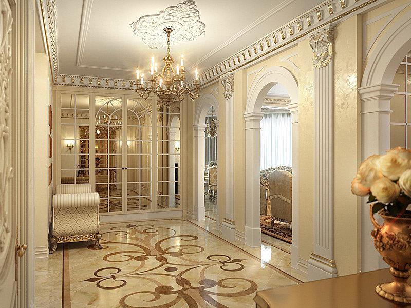 """Интерьер гостиной в классическом стиле с колоннами """" - карто."""