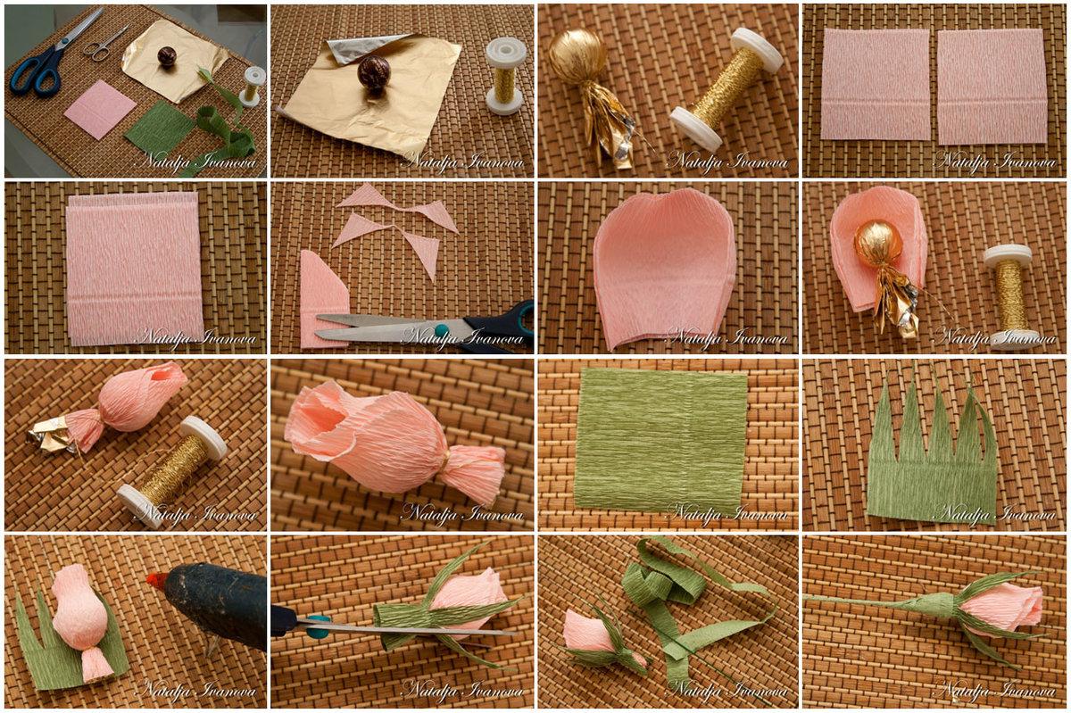 цветы из конфет своими руками пошаговое фото только