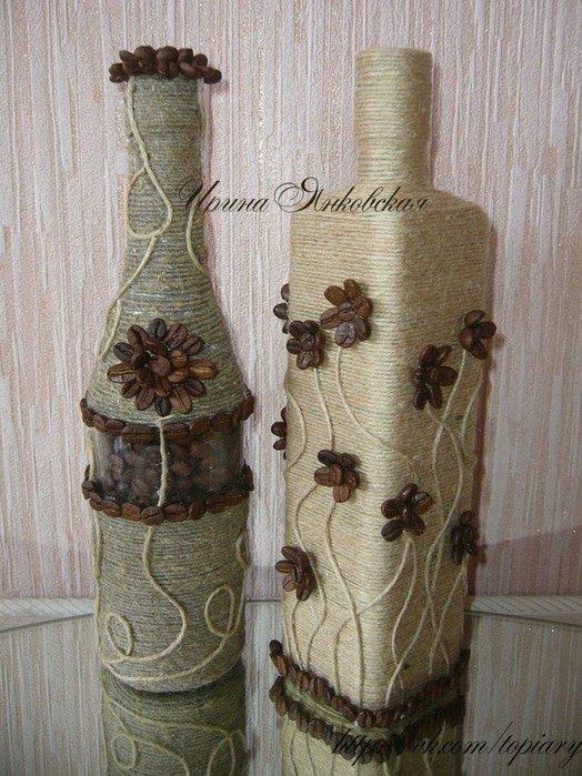 декор вазы шпагатом своими руками фото