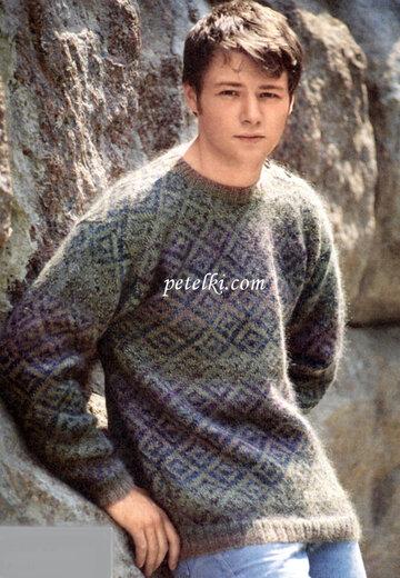 вязание спицами вязание для мужчин пуловер с застежкой на плече