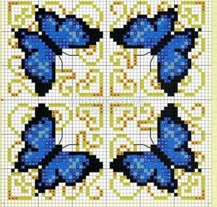 Схема вышивки для подушечек бискоорню