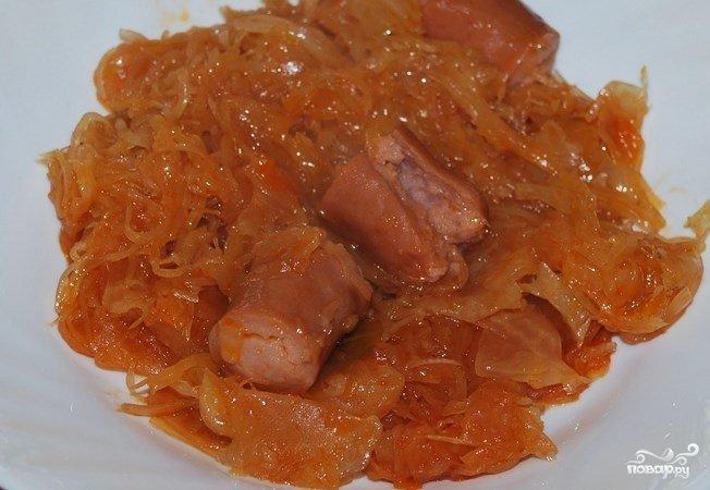 тушёная капуста в мультиварке с сосиской рецепт