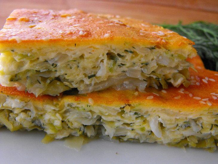 постный пирог заливной с капустой