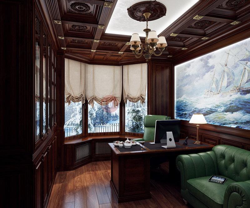 Рабочий стол у окна с видом на заснеженный лес. Цвет стола и мебели темно-коричневый, практически черный.