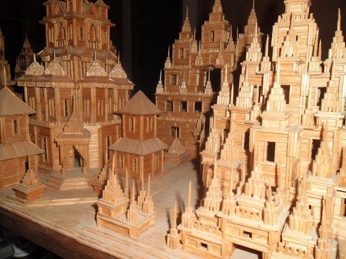 модели замков из спичек