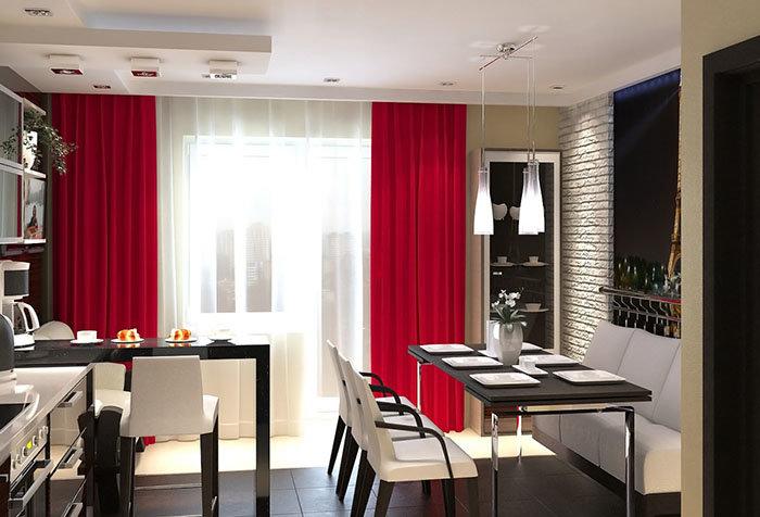 Длинные красные шторы на кухне