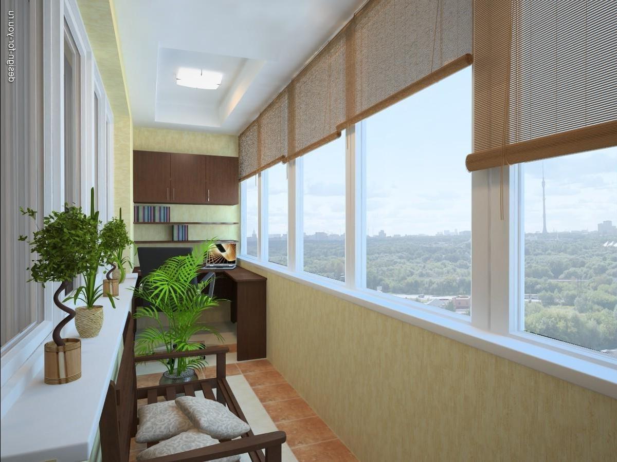 Отделка балкона внутри помещения выполняется с помощью разли.